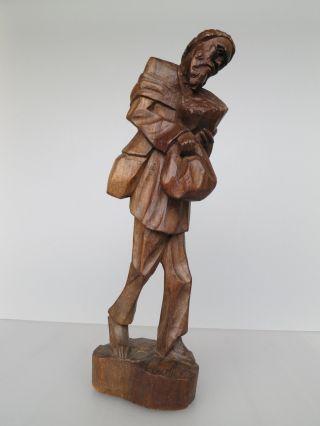 HolzfÄller Bettler Wanderer Mann Holzschnitzerei Figur Holz Schnitzerei Bild