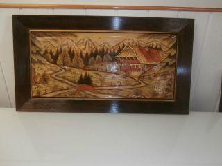 Antikes Geschnitztes Holzbild
