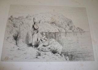 Signierte Handzeichnung Auf Capri Von F.  Arndt Weimar 1881 Bild