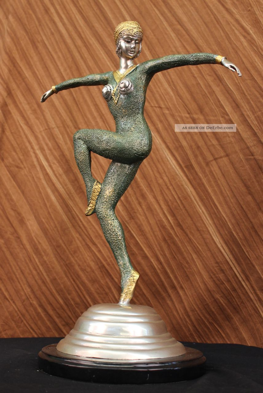 Vintage Grosse Art Deco Marmorfigur Tanzer Dimitri Chiparus Bronze Skulptur Antike Bild