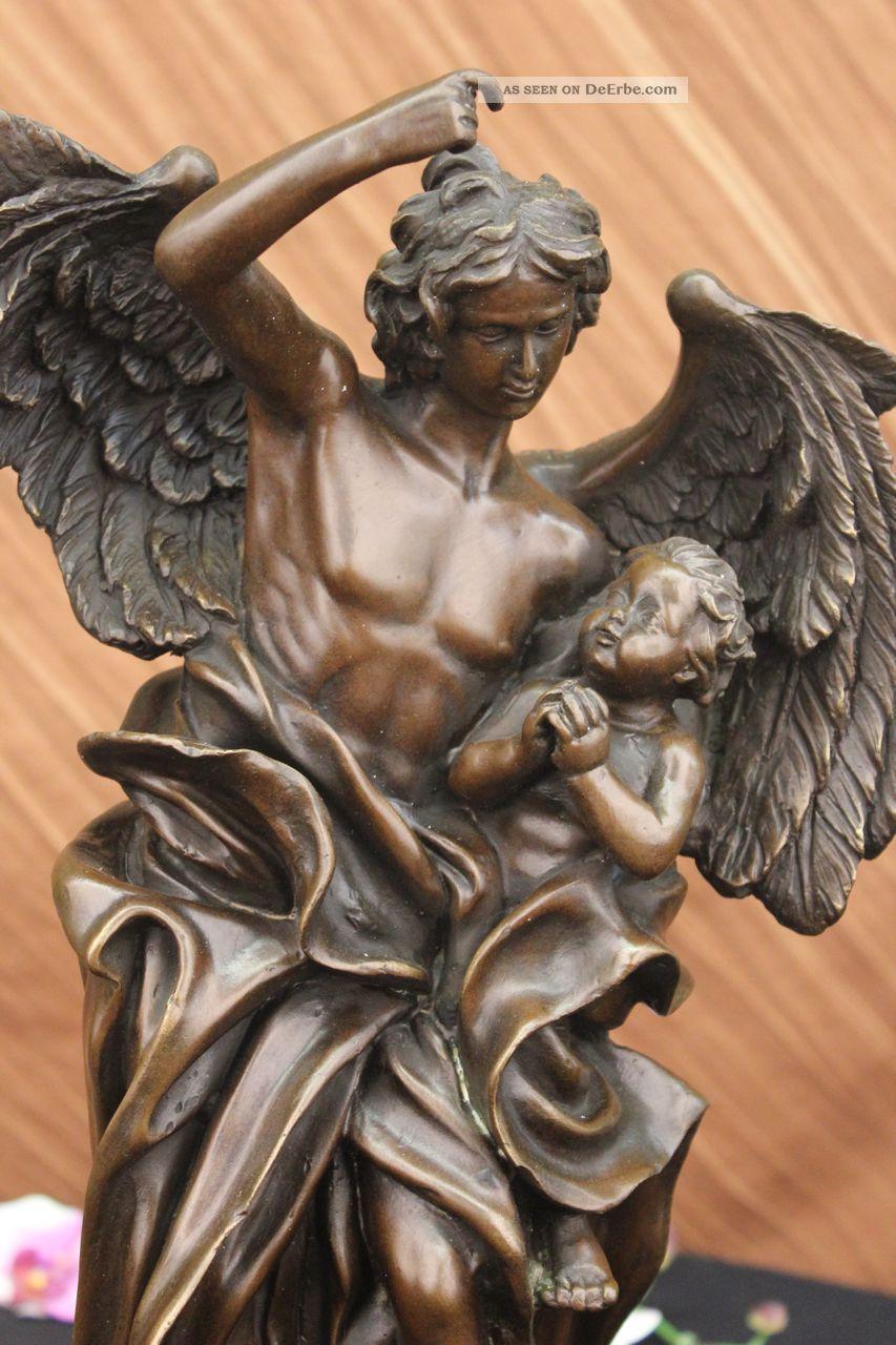 Nackter Schutzengel Art Nouveau Mythische Figur Bronze Skulptur Marmor Basis Antike Bild