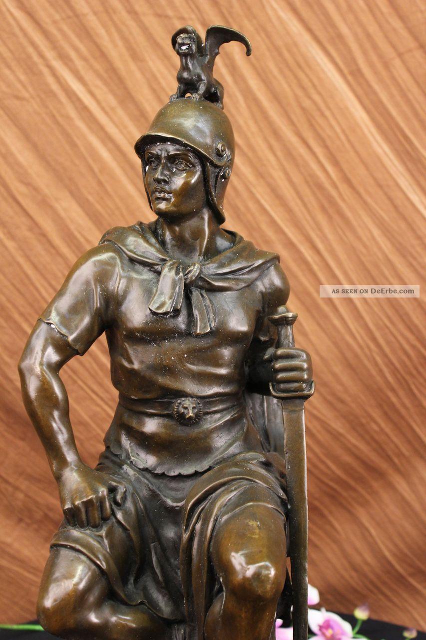 Bronze Skulptur Roman Gallant Krieger - Statue Signed Drouot Figur Figur Art Antike Bild