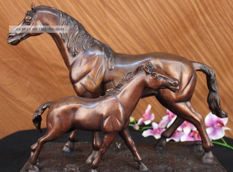 Stute Fohlen Hot Cast Bronze Horse Racing Pony Farm Skulptur Große Figur Kunst Antike Bild