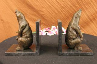 Unterzeichnet Paar Einzigartige Braunbären Buchstützen Bronze Sculpture Figur Bild