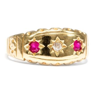 Victorian,  Datiert 1898: Rubine & Diamanten In 750er Goldring Rubin Ring Diamant Bild