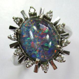 680 - Stilvoller Ring - 585 Weißgold - Opaltriplette Und Diamanten - - Video 1424 Bild