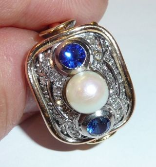 585 Ring Goldring Um 1920 - 30 Art Deco 0,  36 Ct.  Diamanten,  Saphire,  Perle 8,  8g G 54 Bild