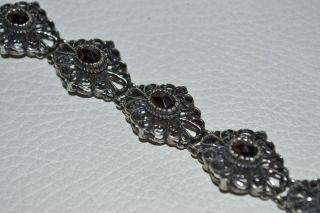 Trachten Armband 835er Silber Mit Granat Trachtenarmband Trachtenschmuck Antik Bild