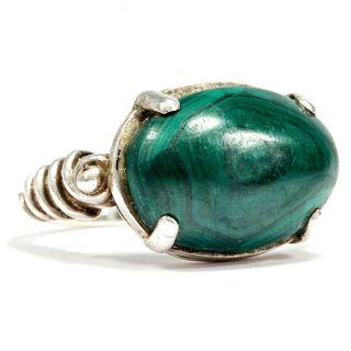 Ungewöhnlicher Vintage Silber Ring Mit Malachit / Malachite Sterling Silver Bild