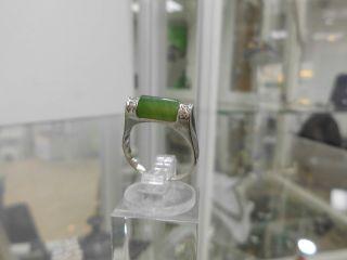 Ring 585 Weissgold M.  Jade U.  2 Brillanten Bild