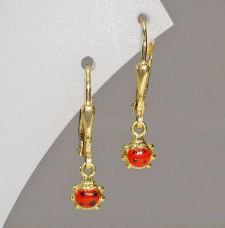 Kinder - Ohrringe Gold 750 Marienkäfer Lack 750er Echtgold Ohrstecker Ohrhänger Bild
