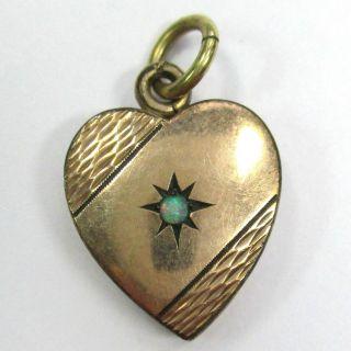 657 - Antiker Vergoldeter Herz Anhänger Mit Opal - - - Video - 1441 - Bild
