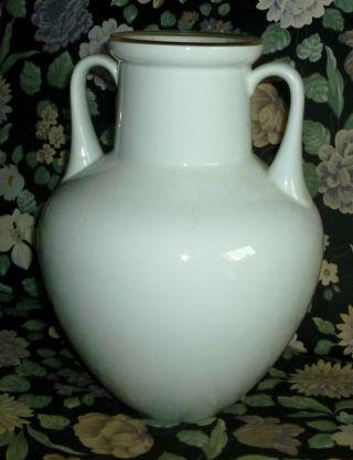 Schicke Porzellan Vase 70er Jahre Weiß Amphore Stiel Gut Erhalten Bild
