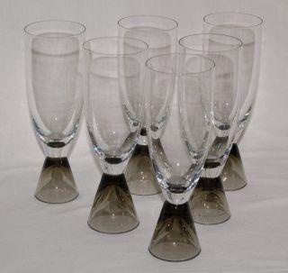 6x Rosenthal Fortuna - Elsa Fischer - Treyden - Sektglas Sektflöte Glas Rauchglas Bild