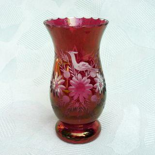 Kleine,  Hübsche Vase Aus Rot überfangenem Kristallglas Geschliffen Böhmen? Bild
