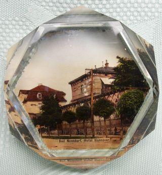 Uraltes Paperweight Kristall Um 1900 Mit Dem Motiv Bad Nenndorf - Hotel Hannover Bild