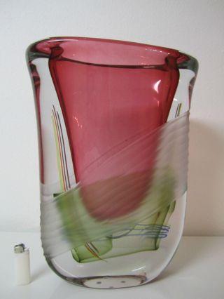 Galeriestück Murano Glas Vase Incalmo Sommerso Xxl Mit Eugenio Signed Bild