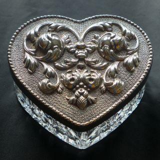Herz Dose Kristall Mit Schwerem 925er Silberdeckel,  Gestempelt Bild