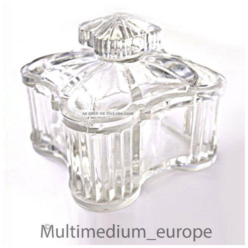 Schöne Seltene Preß Glas Deckel Dose Aus Klar Glas Um 1900 Guter Schöner Sammlerglas Bild