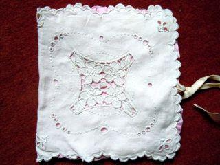 Exkl.  Taschentuchbehälter Feston Richlieu Lochstickerei Perfekte Alte Handarbeit Bild
