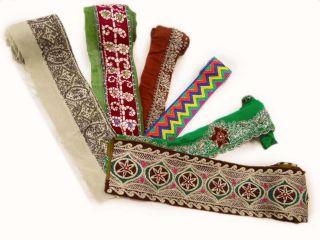 Weinlese - Indien 6x Sari Border Trim Deco 1yd Bestickt Multicolor Lace Bild