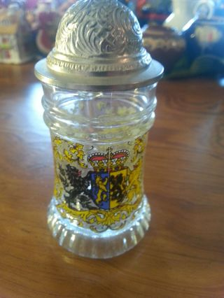 2 Sehr Alte Schnapsgläser,  Wie Bierhumpen Mit Zinndeckel,  Glas Mit Wappen Gemark Bild