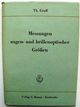 """Th.  Graff """"messungen Augen - Und Brillenoptischer Größen"""" Bild"""