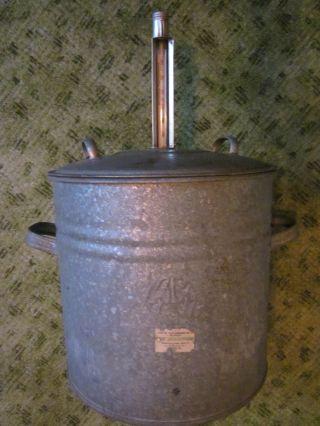 Alter Zinktopf Einkochtopf / Einkochapparat Mit Thermometer Und Einsatz Bild