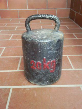 Großes Altes Gewicht Eisen Eisengewicht Hantel Handgewicht Dezimalwaage 20kg (51 Bild