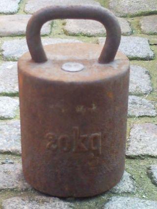 Großes Altes Gewicht Eisen Eisengewicht Hantel Handgewicht Dezimalwaage 20kg (31 Bild
