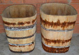 2 X Holzfass,  Holzbottich,  Maischenfass,  Eichenfass Bild