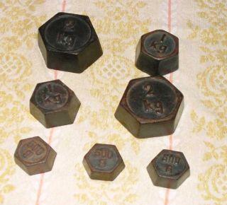 8 Alte Gewichte Eisen Eisengewichte Bild