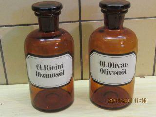 2 Apothekerflaschen 0,  5 Ltr.  Braun Enghals Olivenöl U.  Rizinusöl Bild