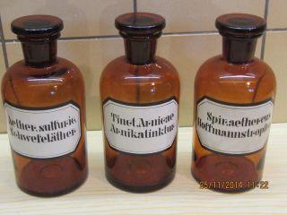 3 Alte Braune Apothekerflaschen 0,  5 Ltr.  Enghalsig Bild