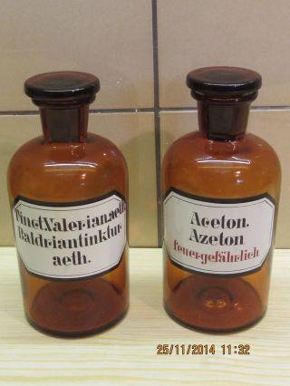 2 Alte Braune 0,  5 Ltr.  Apothekerflaschen Azeton U.  Baldriantinktur Bild