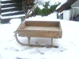Holzschlitten Transport (winter - Deko - Garten Blumen - Berghütte - Antik) Bild