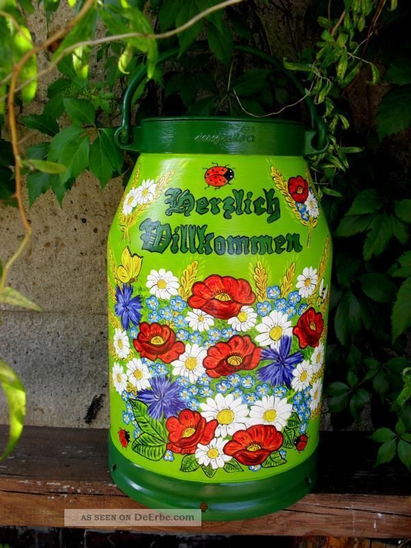 Milchkanne,  20 - L.  Handbemalt,  Marienkäfer,  Mohn,  Kornblumen,  Mageriten - Bestellung Bauer Bild