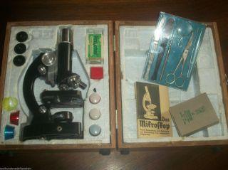 Antikes Mikroskop Lunax Mit Holzkoffer Und Zubh.  Gebrauchsanleitung Bild