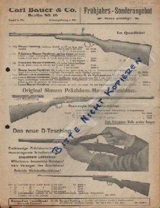 Berlin,  Prospekt 1923,  Carl Bauer & Co.  Schusswaffen Revolver Mauser Munition Bild