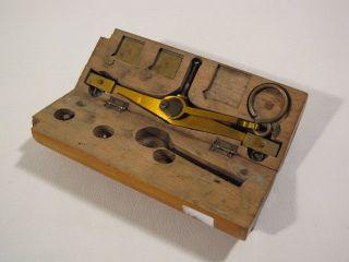 Alte Fein - Waage Goldwaage Taschen - / Reisewaage Mit Holzschatulle Bild