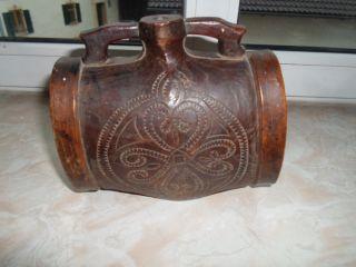 Sehr Altes Kleines Holzfässchen Aus Der Barock - Zeit Mit Muster - Motiv Bild