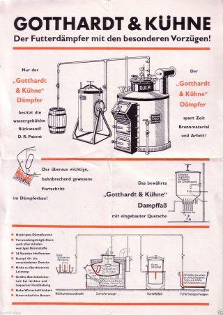 Reklameprospekt,  Gotthardt & Kühne Futterdämpfer,  Landwirtschaft,  1934 Bild