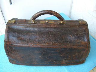 Antik Ledertasche Arzttasche Doktor Reisetasche Xxl Große Tasche. Bild