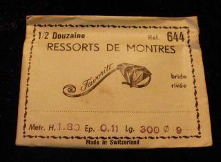 1 Uhrfeder Ref.  644 Von 1954 In Ovp Orginal Nachlas Swiss Sammler Bild