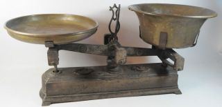 Waage Antik 1800 Ladenwaage Marktwaage Kupfer Schüsseln Bild