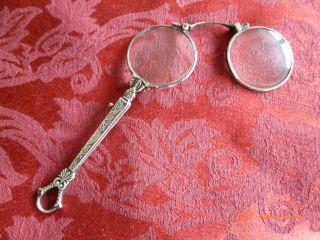 Jugendstil Alt Antik Lorgnon Lorgnette 925 Silber Verziert Klappbar Sterling Bild