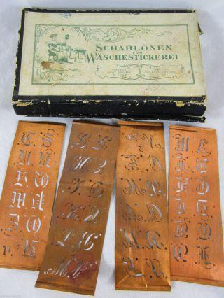Kupfer - Schablonen Für Wäschestickerei Buchstaben Gravur In Ovp Um 1920/30 Bild