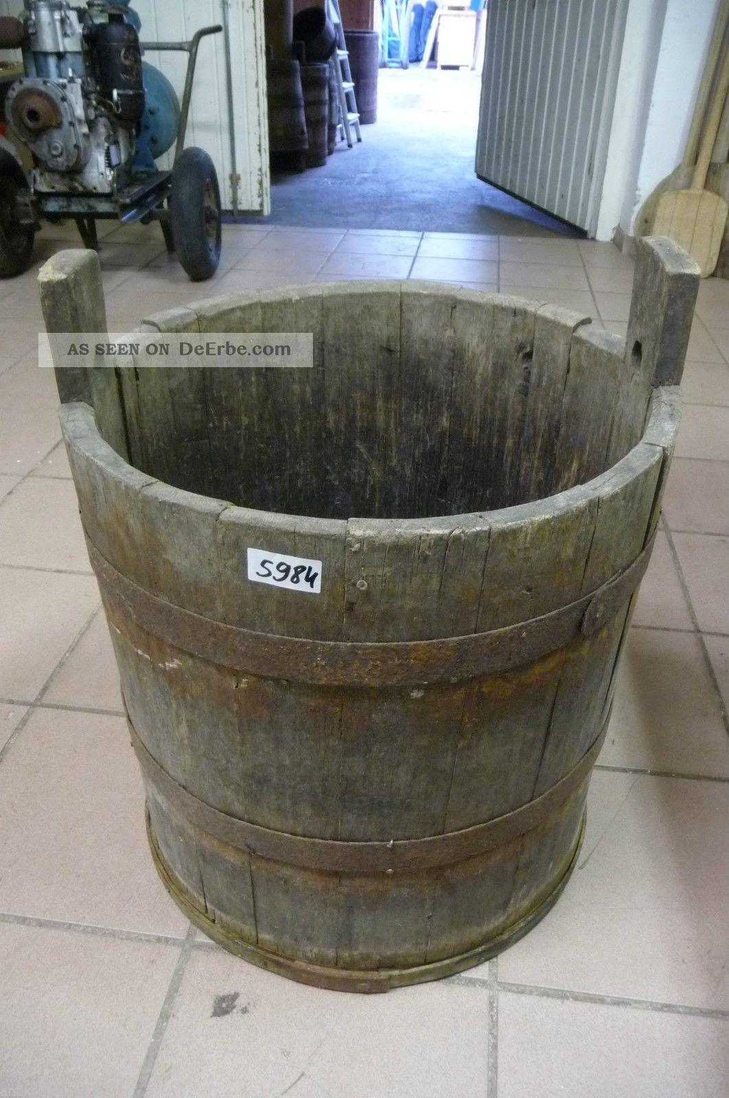 5984.  Altes Holzfass Fass Wassereimer Old Wooden Barrel Bauer Bild