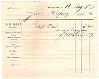 Top Rechnungsbeleg Hannover G.  H.  Ebers Von 1876 Bild