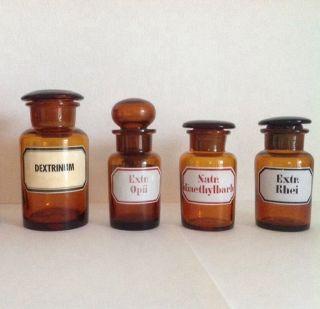 4 Alte Apothekerflaschen Mit Geschliffenem Verschluss,  Emailliert Bild